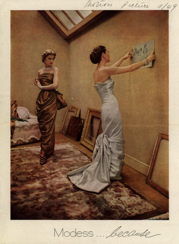 """One of Modess's """"because"""" ads from 1949 depicting glamorous women's lives to help sell their sanitary napkins. (Motion Picture/Ad*Access, Duke University Libraries)"""