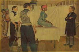 "Painting of J. Marion Sims, ""the father of modern gynecology,"" preparing to operate on an enslaved woman without anesthesia."