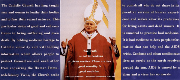 """Display from the 1990 Gran Fury, """"Pope Piece."""""""