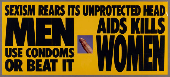 "Display from the 1990 Gran Fury, ""Pope Piece."""