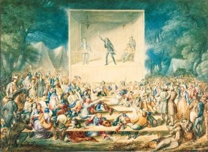 """Religious Camp Meeting,"" a watercolor depiction by J. Maze Burbank, c. 1839. Source: Library of Congress."