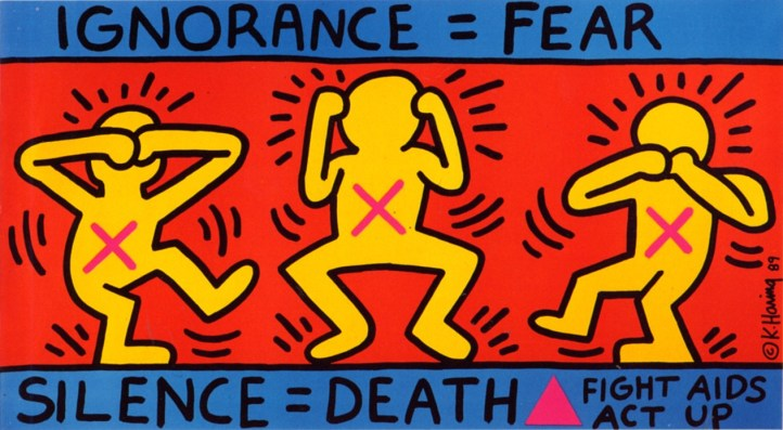 """Keith Haring, """"Ignorance = Fear,"""" 1989."""
