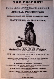 """Cover of W. E. Drake's pamphlet """"The Prophet!,"""" 1834. As Matthias' """"Kingdom"""" fell apart, he faced charges of fraud, swindling, and murder that newspapers and a new penny press reported widely."""