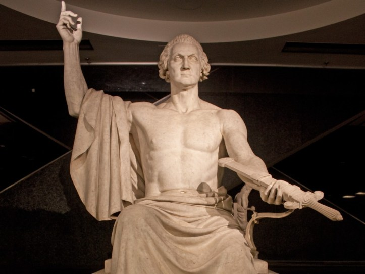 Horatio Greenough's 1832 statue of George Washington, on display at the US National Museum of American History. (Wknight94/Wikimedia | CC BY-SA)