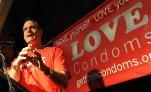 "Michael Weinstein, President of AHF, speaks at the launch of the launch of the ""Love Condoms"" campaign to combat the spread of AIDS in 2009. (MARK RALSTON/AFP/Getty Images)"