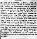 """""""Radway's Regulating Pills,"""" The Spirit of Democracy (Woodsfield, OH), Nov. 27, 1861. (Source: Chronicling America: Historic American Newspapers, Library of Congress. Image provided by: Ohio Historical Society, Columbus, OH.)"""