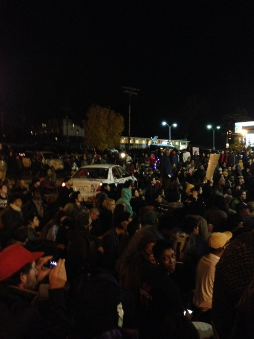 The sit-in at the Ferguson police department. Saturday, October 12, 2014. (Austin C. McCoy. Licensed CC BY-SA.)
