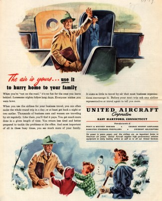"""Ads like this 1949 United Aircraft Corporation spot that appeared in Collier's magazine depicted a version of the """"modern father"""" that was encouraged to engage in the daily lives of his children. (Ad*Access/Duke University Libraries Digital Collections)"""