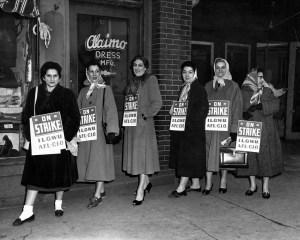 """Women picketing outside Alaimo Dress Mfg,"" c. 1940, by Harry Rubenstien. (Kheel Center, Cornell University/Flickr CC BY)"