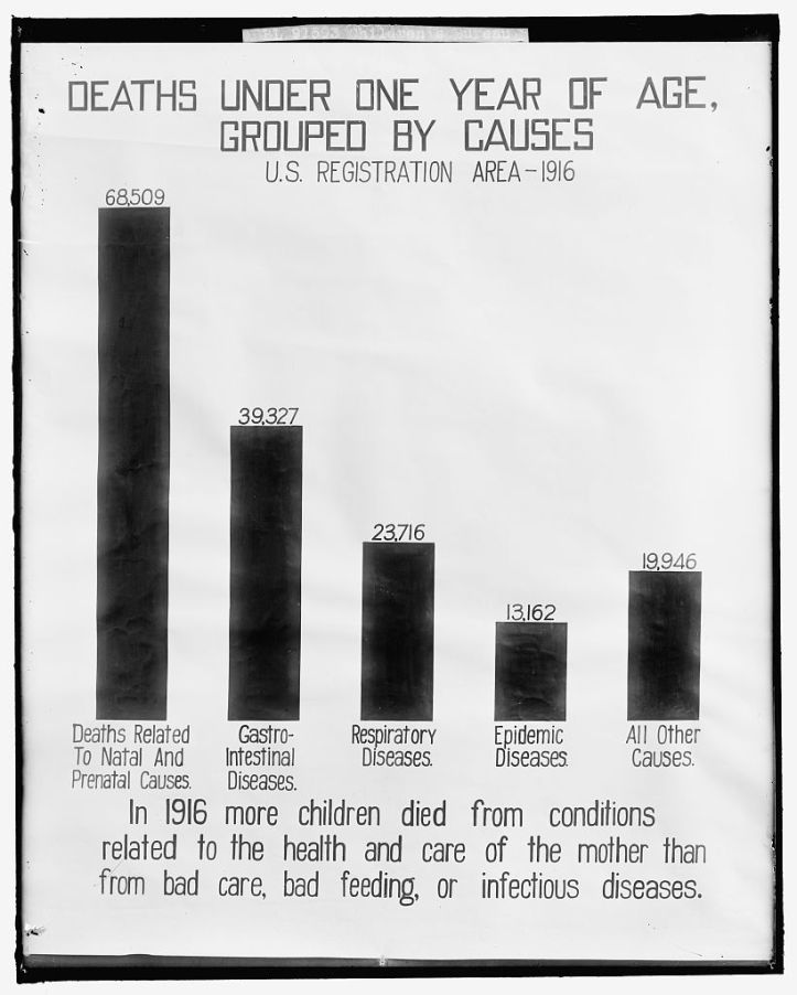 US Children's Bureau poster showing maternal health and care as the most prevalent cause in 1916 of infant deaths in the first year, c. 1905-1945. (Children's Bureau/Library of Congress)