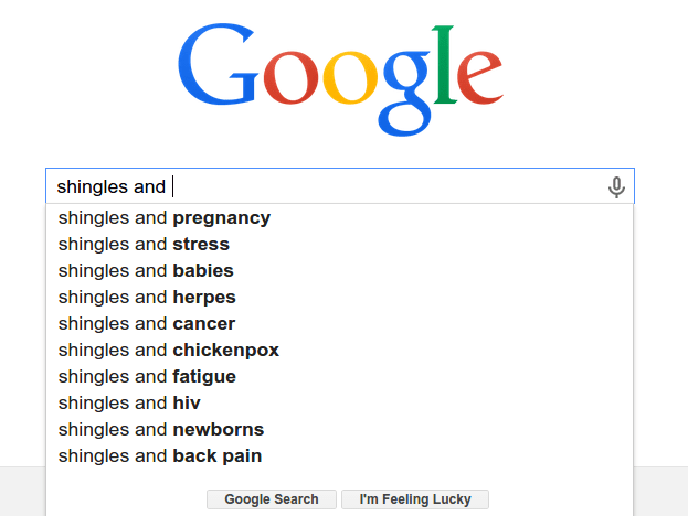 Screenshot of Google search for shingles