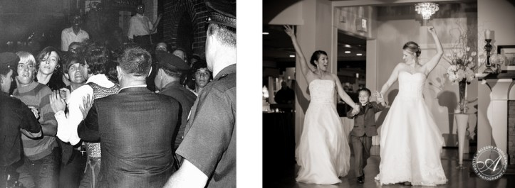 LEFT: Police force people back outside the Stonewall Inn during the Stonewall Riots, June 29, 1969. (The New York Daily News) RIGHT: Wedding photo. (Allegro Photography/Flickr | CC BY-NC-ND)