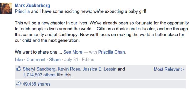 Screenshot from Zuckerberg facebook post announcing pregnancy