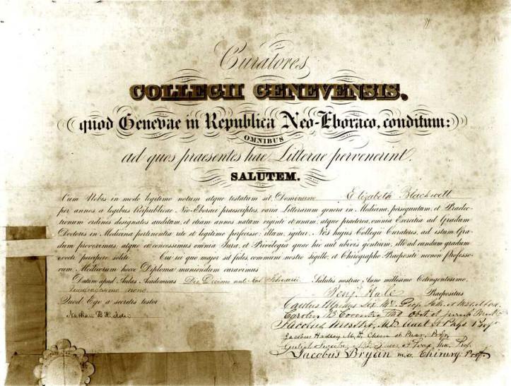Elizabeth Blackwell's Geneva Medical College diploma. (Glasgow University Archives/US National Library of Medicine)