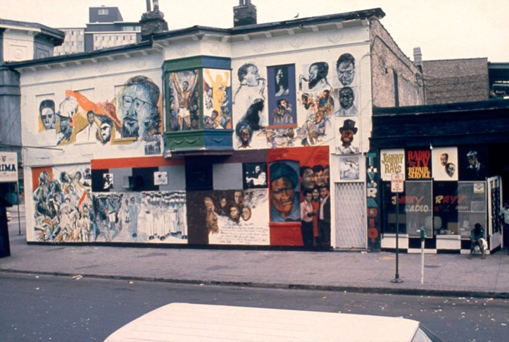 Artists with the Organization of Black American Culture created The Wall of Respect in 1967 to support African American civil rights in Chicago. Sylvia Abernathy, Elliot Hunter, Wadsworth Jarrell, Barbara Jones-Hogu, Carolyn Lawrence, Norman Parish, and William Walker were among the artists involved. (Robert Sengstacke)