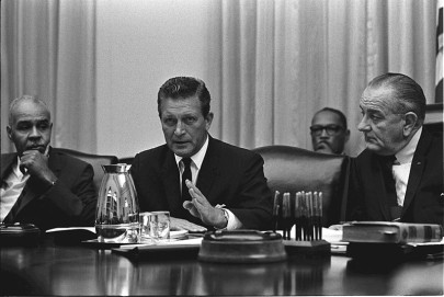 Otto Kerner, chair of the National Advisory Commission on Civil Disorders, meeting with Roy Wilkins (left) and President Lyndon Johnson (right) in the White House, July 29, 1967. (LBJ Online Photo Archive/Wikimedia)