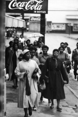 African American women during the Montgomery bus boycott.