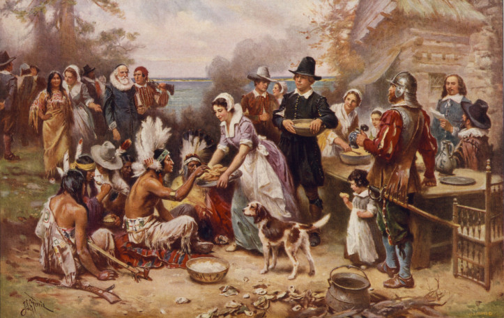 "This 1932 painting of ""The first Thanksgiving 1621,"" by J.L.G. Ferris, shows many of the more common misconceptions of the 1621 feast. (Library of Congress)"