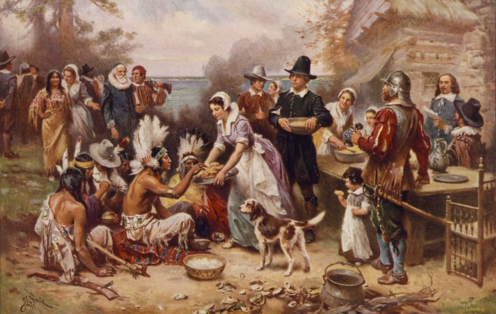 """This 1932 painting of """"The first Thanksgiving 1621,"""" by J.L.G. Ferris, shows many of the more common misconceptions of the 1621 feast. (Library of Congress)"""