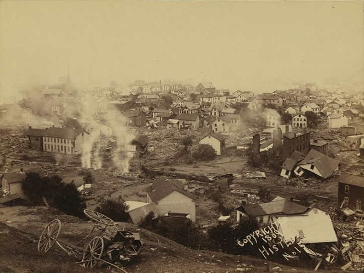 A view showing the smoke of several fires, possibly from the burning of animal carcasses, 1889. (Ernest Walter Histed/Library of Congress | Public domain)
