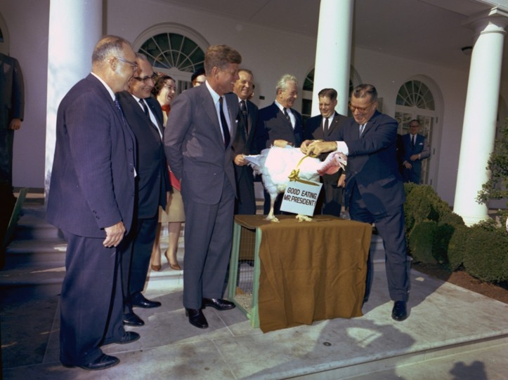 Presentation of a Thanksgiving Turkey to President Kennedy, 1963. (Robert Knudsen White House Photographs/National Archives and Records Administration)