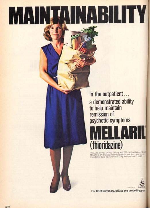 An advertisement from the American Journal of Psychiatry promoting Mellaril