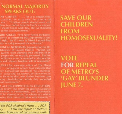 "James M. Foster, ""Save our children from homosexuality!"" Pamphlet. (ca. 1977). James M. Foster Papers, #7439. Division of Rare and Manuscript Collections, Cornell University Library."