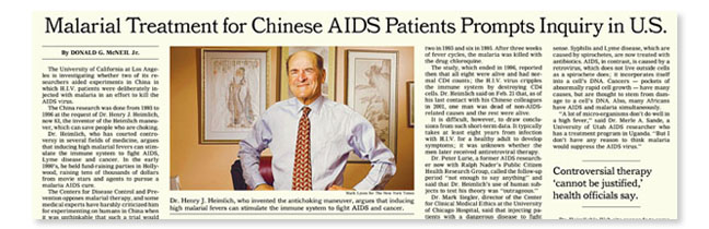 "New York Times reporting on UCLA investigation of Heimlich's ""malarial therapy"" tests in China."