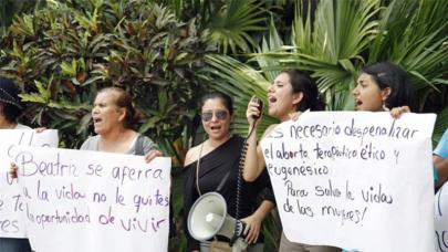 Protests in El Salvador after the courts there denied a 23-year-old woman a potentially life-saving abortion. (Amnesty International)