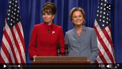 SNL skit where Governor Sarah Palin (Tina Fey) and Senator Hillary Clinton (Amy Poehler) address the American public about sexism and the 2008 presidential election. [Season 34, 2008] (NBC)