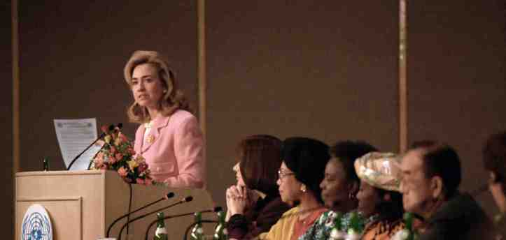 Hillary Clinton speaking at the 1995 UN 4th World Conference on Women (clintonfoundation.org)