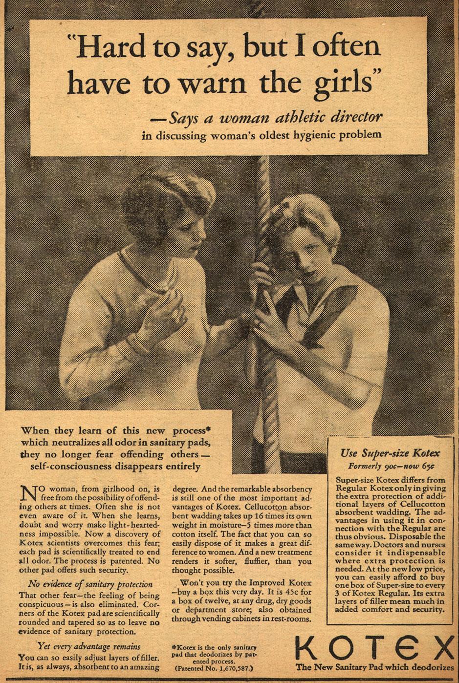 1929 Kotex advertisement. (Ad*Access, Duke University)