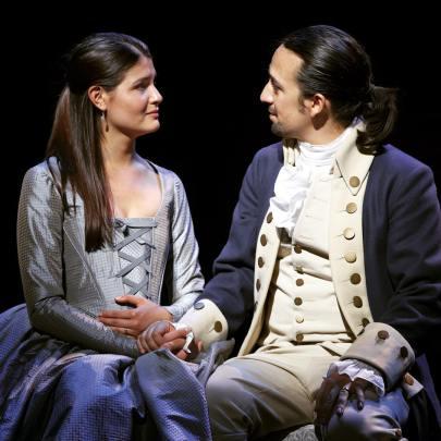 Eliza Schuyler Hamilton (Philippa Soo) and Alexander Hamilton (Lin-Manuel Miranda) in Hamilton. (hamiltonmusical/Instagram)