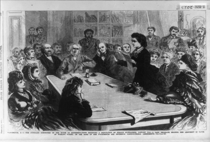Illustration of a Victoria Woodhull arguing in favor of woman suffrage in front of the Judiciary Committee of the House of Representatives. Printed Frank Leslie's Illustrated Newspaper in 1871. (Frank Leslie's Illustrated Newspaper/US Library of Congress)