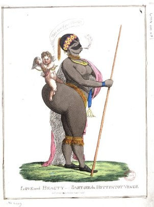 "1822 caricature of Saartjie (or ""Sara"") Baartman, titled, ""Love and Beauty -- Sartjee the Hottentot Venus."" (British Museum 