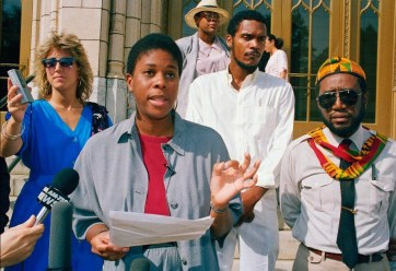 Lenora Fulani campaigning for President in Atlanta in 1988. (CNN)