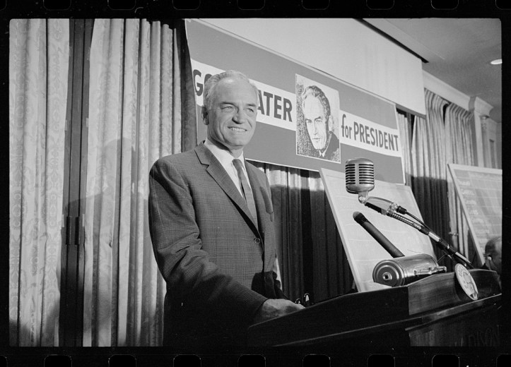 Barry Goldwater on the night of the New Hampshire primary, March 10, 1964. (Marion S. Trikosko/US Library of Congress)