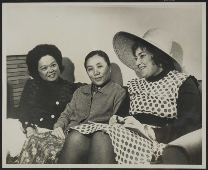 US Representative Patsy T. Mink (left), meeting with Nguyen Thi Binh, Foreign Minister of the Provisional Revolutionary Government of South Vietnam (center), and Representative Bella Abzug (right) outside of Paris, France, April 21, 1972. (Patsy T. Mink Papers, Container 510, Manuscript Division, Library of Congress)