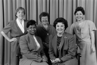 Women Senators of the Democratic Party in 1993. From left to right: Senators Patty Murray, Carol Moseley Braun, Barbara Mikulski, Dianne Feinstein, and Barbara Boxer. (Senate of the United States/Wikipedia | Public domain)