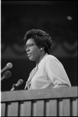 Representative Barbara Jordan delivering the keynote address at the 1976 Democratic National Convention. (Warren K. Leffler/US Library of Congress)