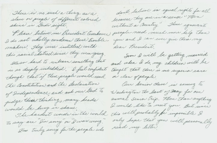 "Letter to President Dwight D. Eisenhower from Dana Anderson, who described herself as a ""typical teen-ager"" and argued for equal rights for all, September 29, 1957. (Dwight D. Eisenhower, Records as President, White House Central Files, Bulk Mail Files, Acknowledged Letters re: Little Rock School Crisis, Box 1, A (1))"