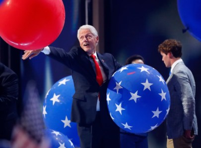 Bill Clinton and the Balloons. (Aaron P. Bernstein/Getty)