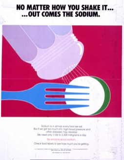A 1985 poster warning about salt intake. (Food and Drug Administration/US National Library of Medicine | Public domain)