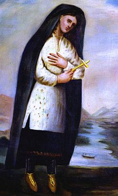 painting of a woman wearing a long black veil, a white tunic-length shirt, and black pants.