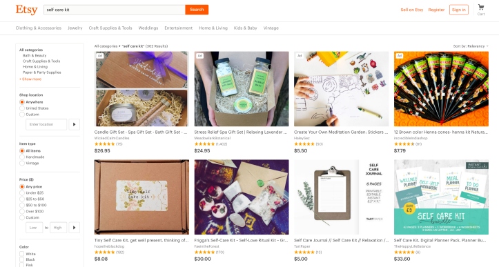 "Screen shot of Etsy website with keyword search ""Self care kit"" taken 12 Aug 2017."