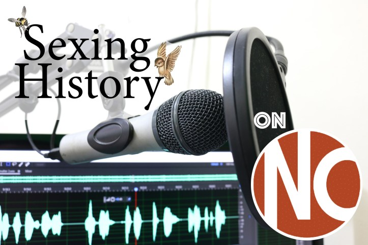 Microphone and pop screen attached to computer with recording software, with Sexing History logo and Nursing Clio logo superimposed.