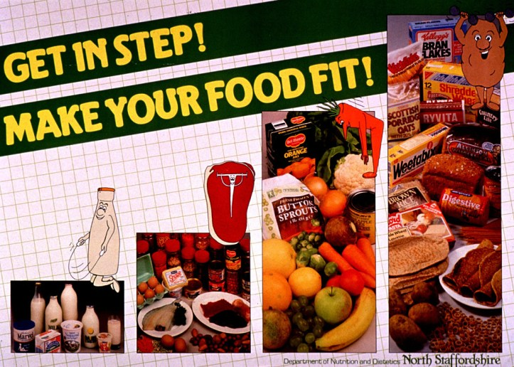 White and green poster with yellow and green lettering. Title at top of poster. Visual images are color photo reproductions featuring dairy products, meat and other sources of protein, fruits and vegetables, and grain products. Cartoon-style illustrations of a milk bottle jumping rope, a t-bone lifting weights, a carrot doing toe touches, and a muscular potato accompany the photos. Publisher information in lower right corner.
