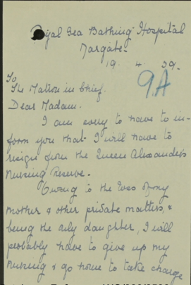 Handwritten letter explaining that she (M Turton) is resigning from her post at the hospital.