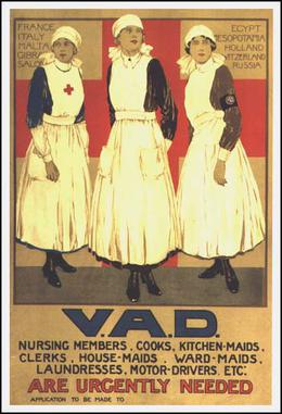 "A color poster showing three white women in nurses uniforms, with ""VAD - Volunteers needed urgently"" written across the bottom."