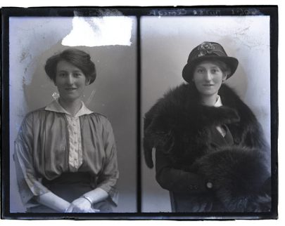 A white woman poses for two portraits, one in her sunday best, and the other in a lovely fur coat and very nice hat. The portraits are side by side.